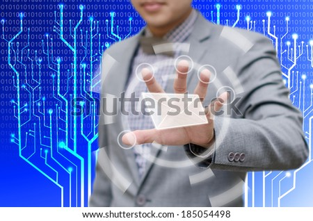Email concept, Business man touch on virtual board for open e mail - stock photo