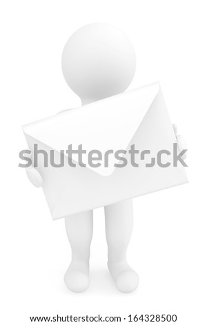 Email Concept. 3d person with envelope on a white background - stock photo
