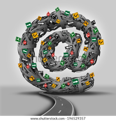 Email concept for social media as a group of direction traffic signs and tangled roads shaped as the at symbol for electronic mail  communication as a technology icon for the internet.