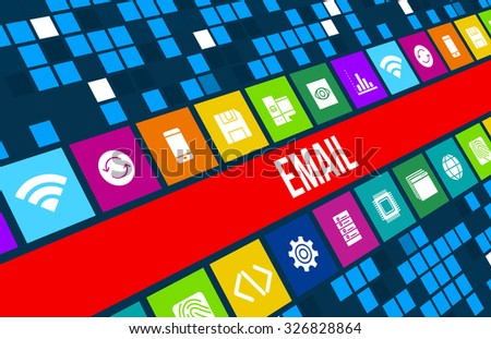 Email concept image with business icons and  - stock photo