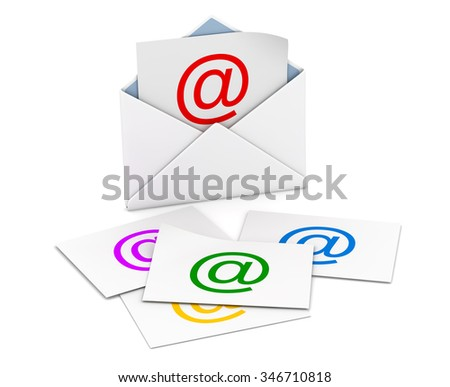 Email concept , This is a computer generated and 3d rendered picture. - stock photo
