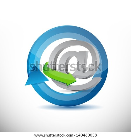 Email, contact us cycle concept illustration design over white - stock photo
