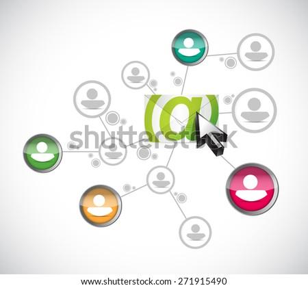 email correspondence people diversity diagram illustration design over white background - stock photo