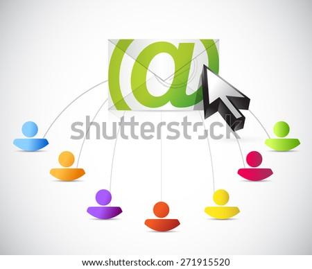 email correspondence people link illustration design over white background - stock photo