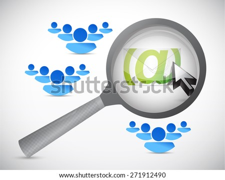 email correspondence people magnify glass illustration design over white background - stock photo