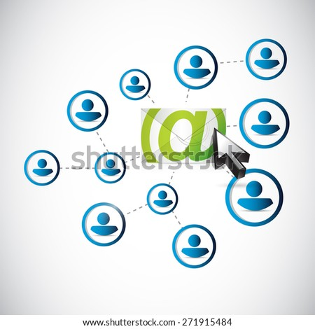 email correspondence people network link illustration design over white background - stock photo