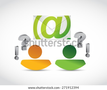 email correspondence people questions illustration design over white background - stock photo