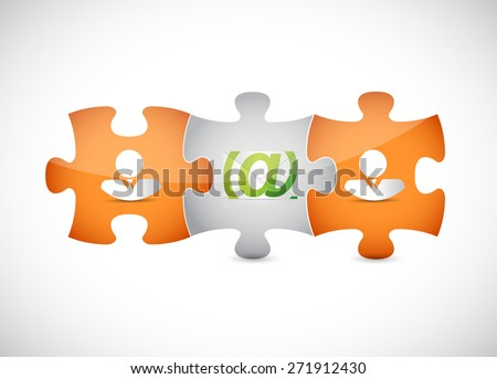 email correspondence puzzle pieces illustration design over white background - stock photo
