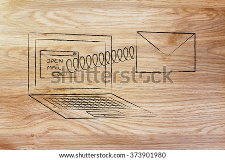 email envelope coming out of laptop screen with a screen - stock photo