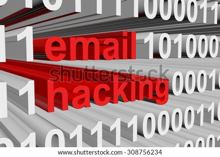 email hacking is presented in the form of binary code - stock photo