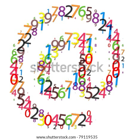 email icon made of colorful digits