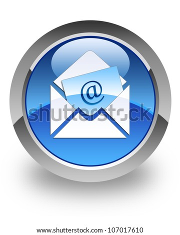 Email icon on glossy blue round button - stock photo