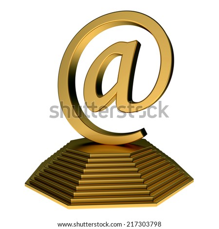 email icon statue on the pyramid isolated over white background - stock photo