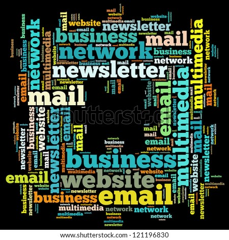 Email info-text graphics and arrangement concept on black background (word cloud)