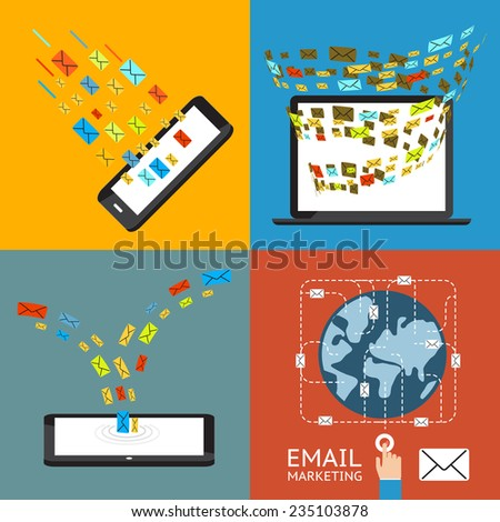 Email marketing concept. Direct mail, mailing management and mobile subscribe - stock photo