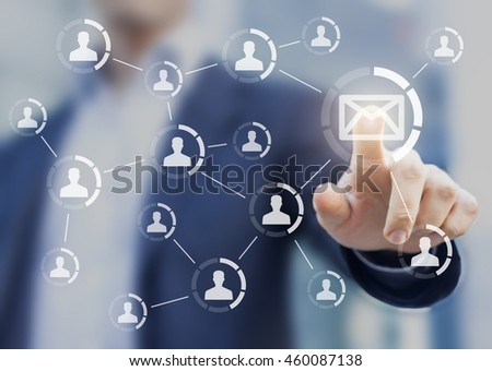 Email marketing concept with businessman touching a mail button to send a message to a list of customers