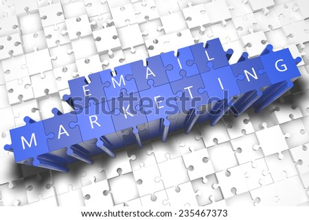 Email Marketing - puzzle 3d render illustration with block letters on blue jigsaw pieces