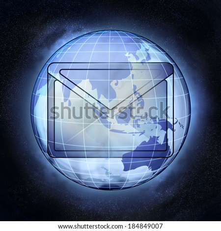 email message of Asia earth globe at cosmic view concept illustration