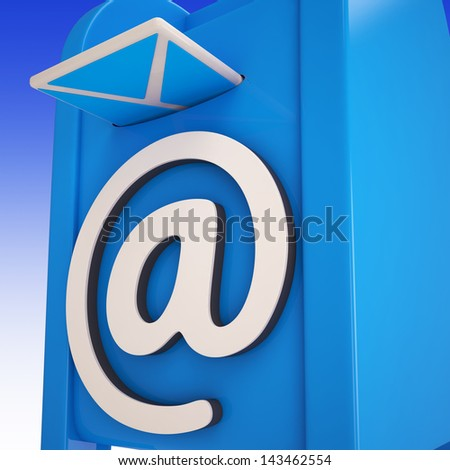 Email On Email box Showing Delivered Mails Or Inbox Messages - stock photo