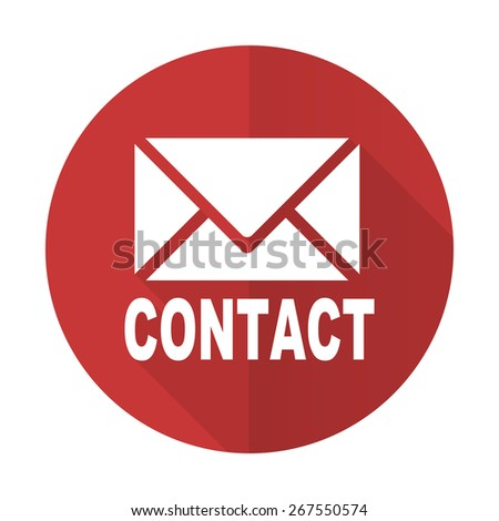 email red flat icon contact sign  - stock photo