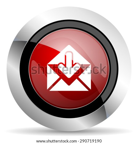 email red glossy web icon original modern design for web and mobile app on white background
