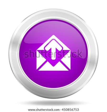 email round glossy pink silver metallic icon, modern design web element