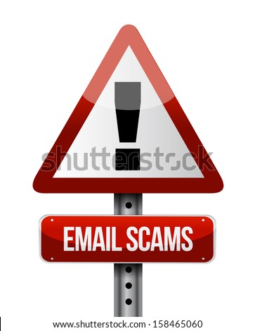 email scams road sign illustration design over a white background - stock photo