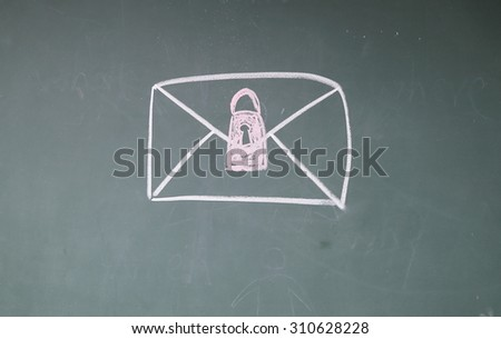 Email Security sign on blackboard - stock photo