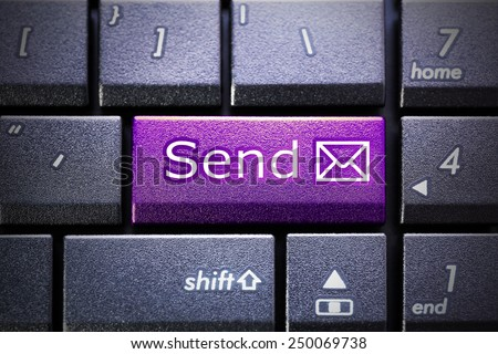 Email send button on the computer keyboard - stock photo