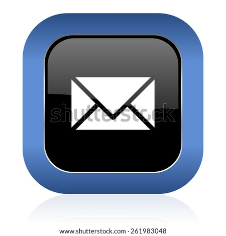 email square glossy icon post sign - stock photo