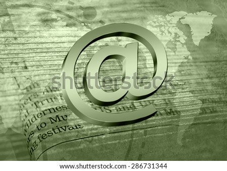 Email symbol on newspaper background. Concept for internet, contact us and e-mail address