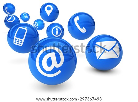 Email, web and Internet concept with contact and connection icons and symbols on bouncing blue spheres isolated on white background.