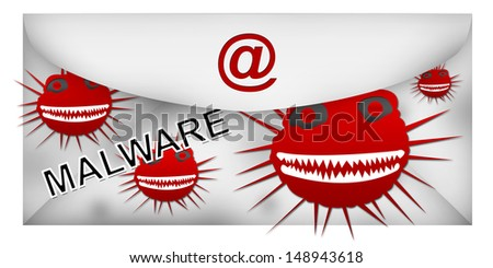 Email With Computer Malware Attach Isolated on White Background  - stock photo