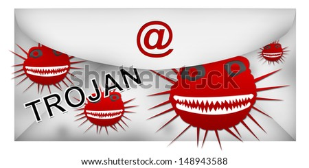 Email With Trojan Attach Isolated on White Background  - stock photo