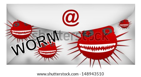 Email With Worm Attach Isolated on White Background  - stock photo