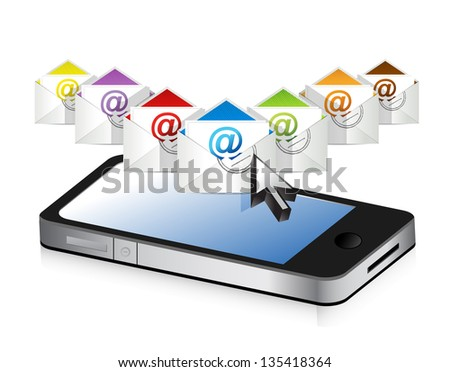 emails and phone illustration design over a white background