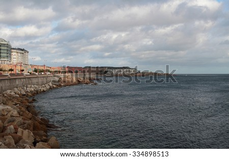 Embankment and sea. Corunna, Spain