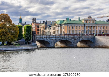 Embankment in central part of Stockholm. Stockholm - the capital and largest city of Sweden. - stock photo