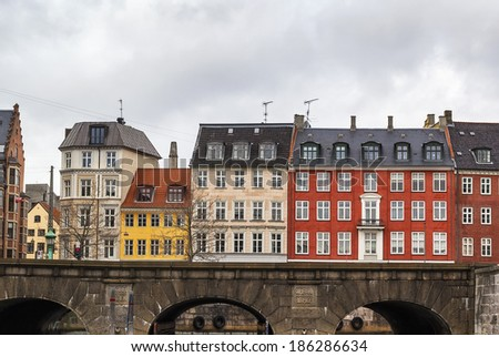 Embankment in Copenhagen city center and bridge, Denmark - stock photo