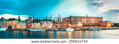Embankment In Old Part Of Stockholm At Summer Evening, Sweden - stock photo