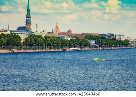 Embankment in Riga city, Daugava river, Latvia - stock photo