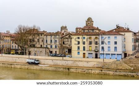 Embankment of Arles - France, Provence-Alpes-Cote d'Azur - stock photo