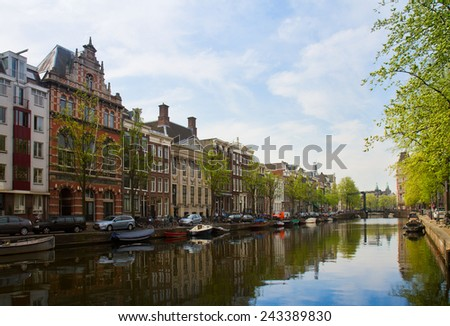 embankment  of canal ring, Amsterdam, Netherlands - stock photo
