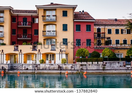 Embankment of Lake Garda in Sirmione, Italy - stock photo