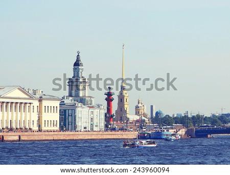 Embankment of Neva river in St. Petersburg, Russia; - stock photo