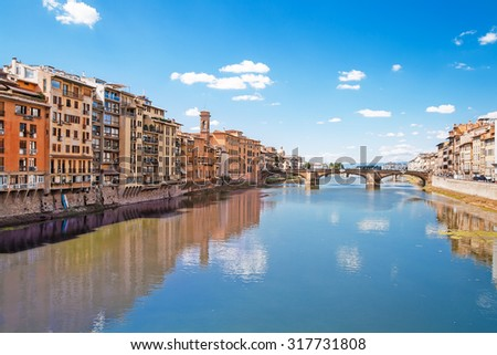 Embankment of river Arno in Florence, Italy