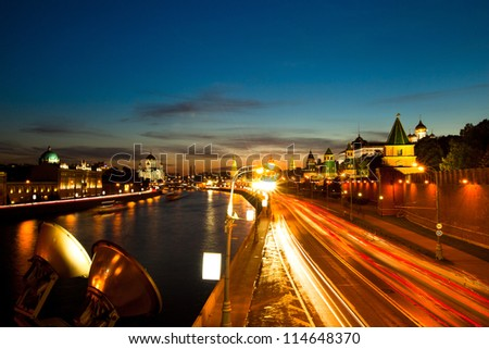 Embankment of the Moskva River near the Kremlin, Red Square. Located between the Lenivka street and Vasilevsky descent (Red Square)