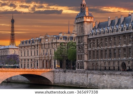 Embankment of the Seine river in historical center of Paris, France - stock photo