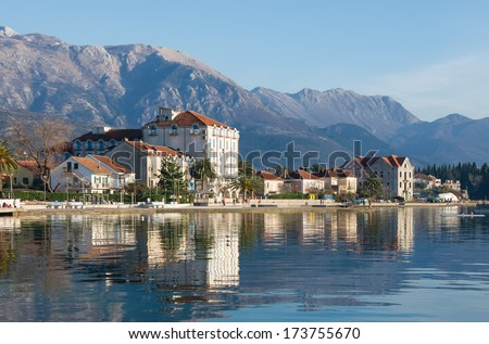 Embankment of Tivat city, Montenegro - stock photo