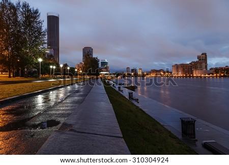 embankment Yekaterinburg night at dawn - stock photo